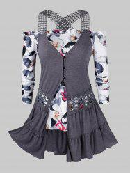 Plus Size Off Shoulder Floral Tee And Lace Crochet Tank Top Set -