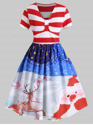 Plus Size Christmas Vintage Stripe Printed Party Dress -