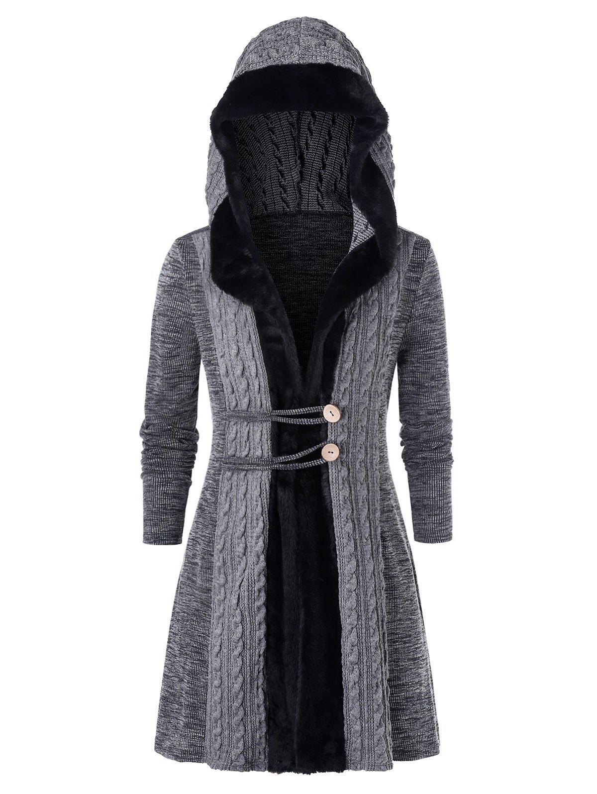 Unique Plus Size Faux Fur Hooded Cable Knit Cardigan