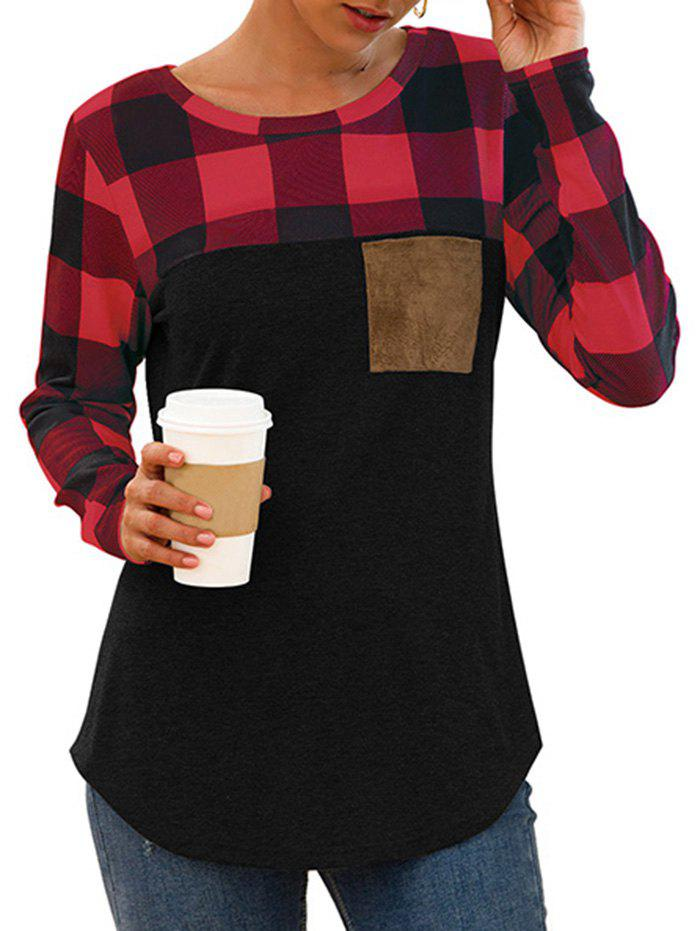 Fashion Plaid Chest Pocket Curved Long Sleeve Tee