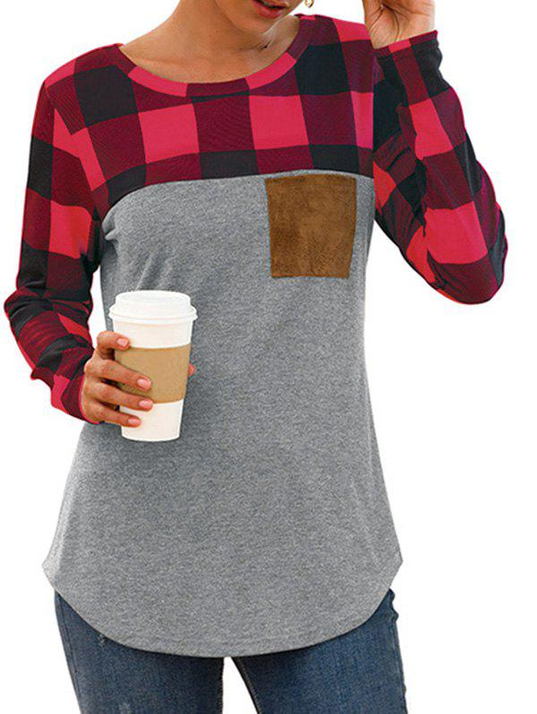 Buy Plaid Chest Pocket Curved Long Sleeve Tee