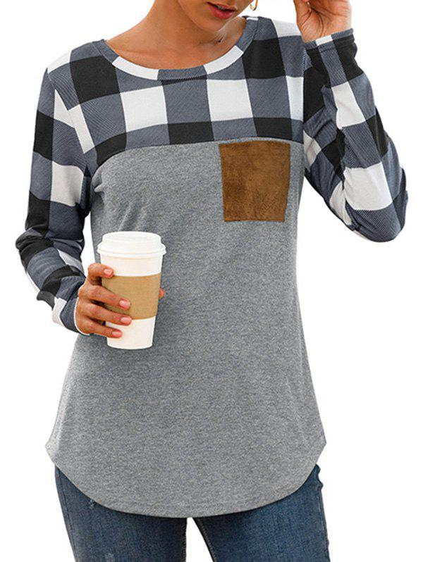 Affordable Plaid Chest Pocket Curved Long Sleeve Tee