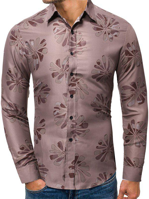 Sale Floral Pattern Button Up Long-sleeved Shirt