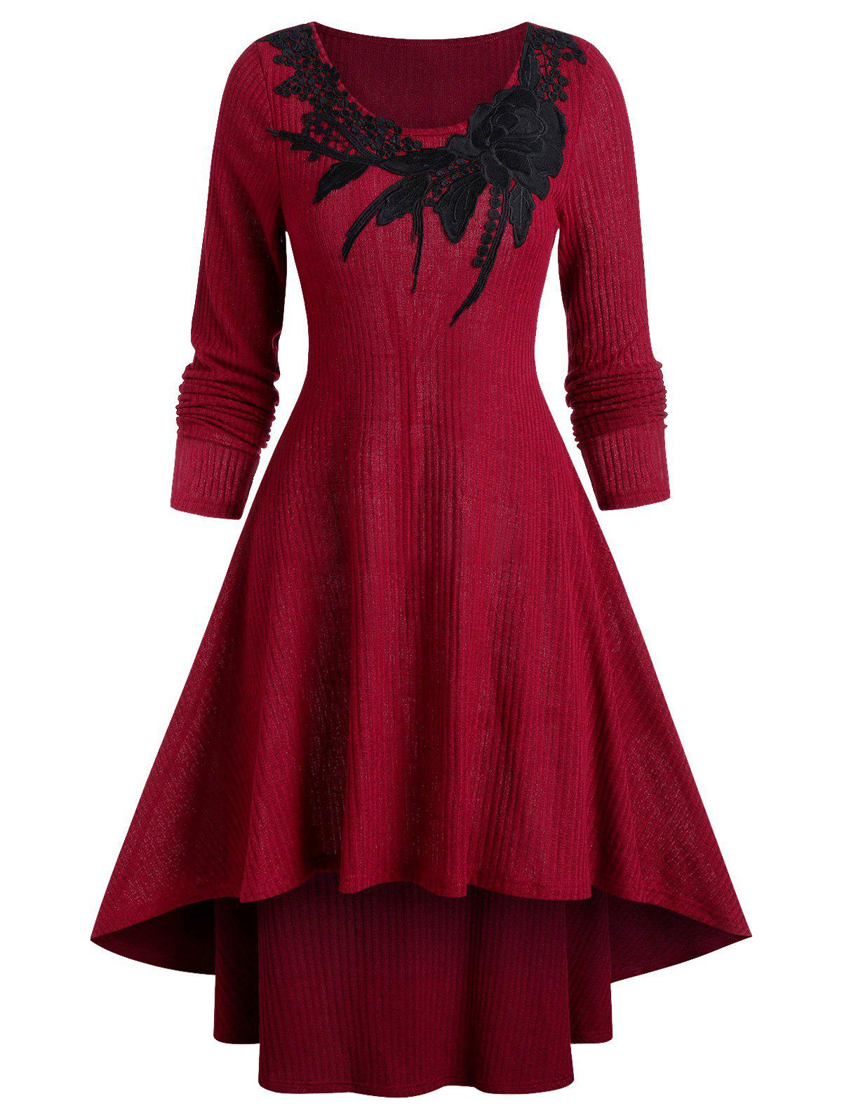 Buy Round Collar Applique High Low Sweater Dress