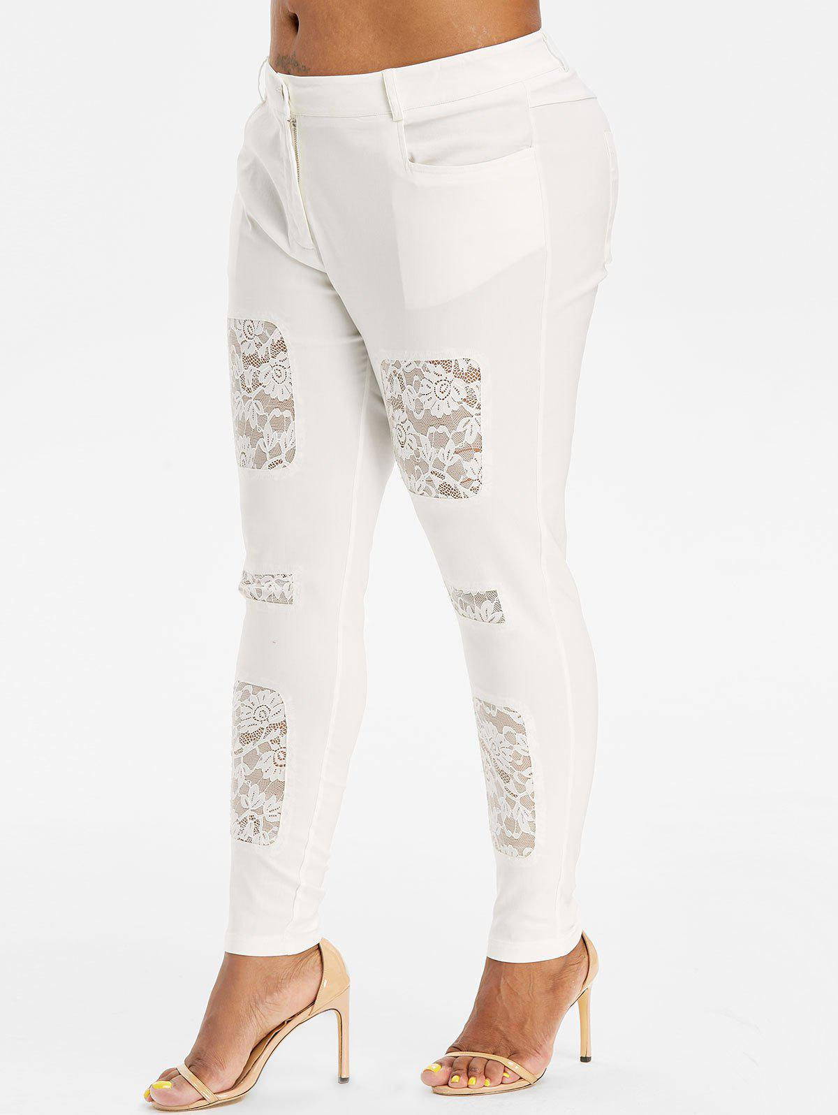 Sale Mid Rise Skinny Lace Panel Plus Size Pants