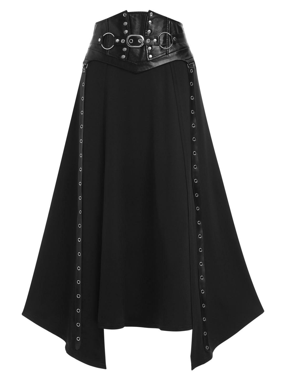 Shop Faux Leather Buckle Strap Rivet Embellished Lace-up Asymmetric Gothic Skirt