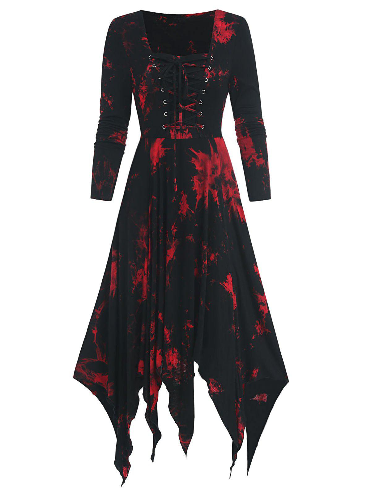 Cheap Tie Dye Print Long Sleeve Lace-up Handkerchief Dress