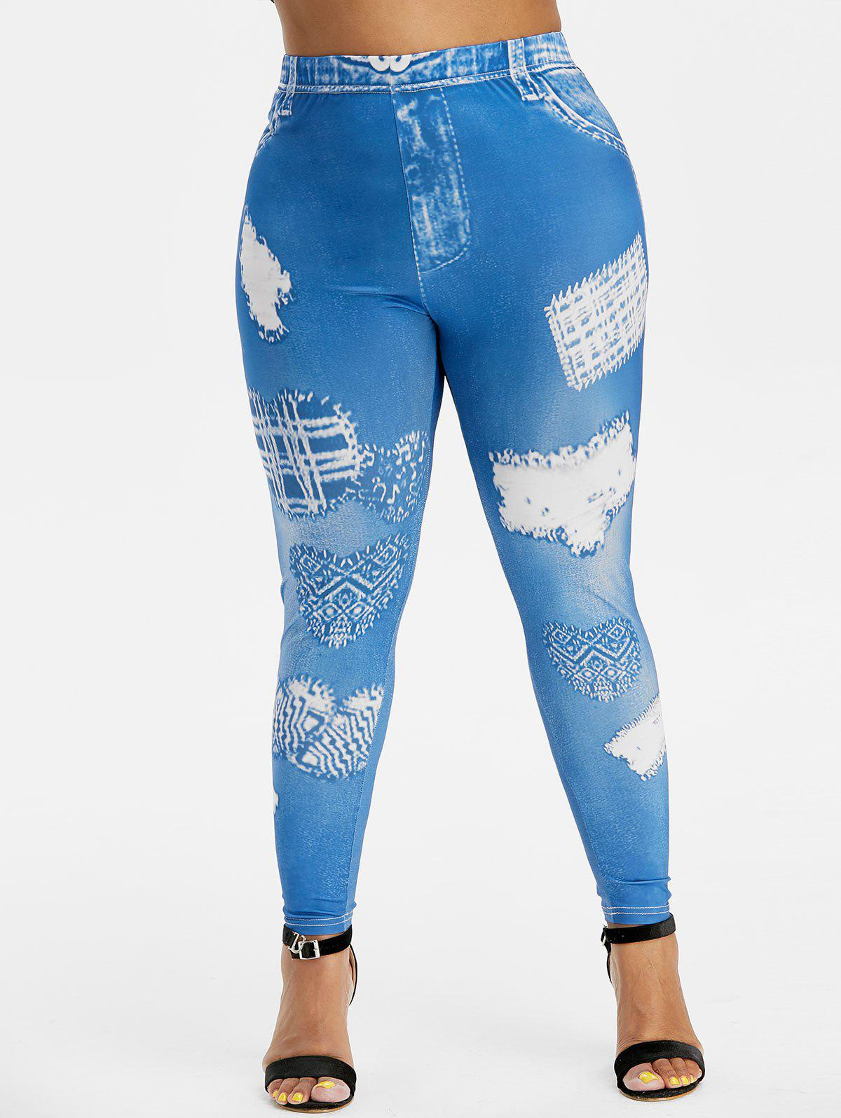 Hot Plus Size 3D Destroyed Print Skinny Jeggings