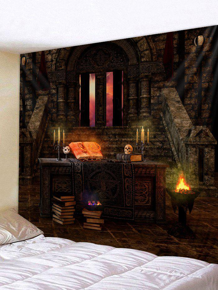 Hot Halloween Castle Skull Candle Printing Wall Tapestry