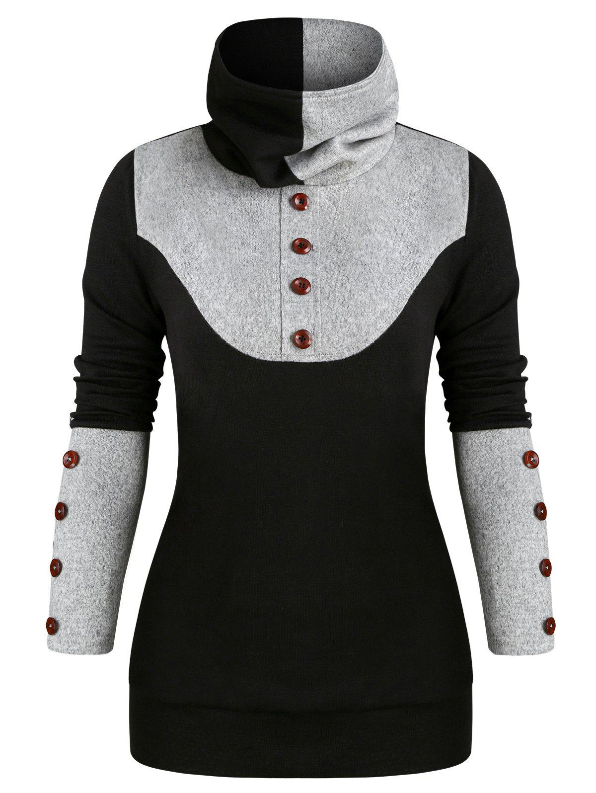 Hot Two Tone Mock Button Longline Top