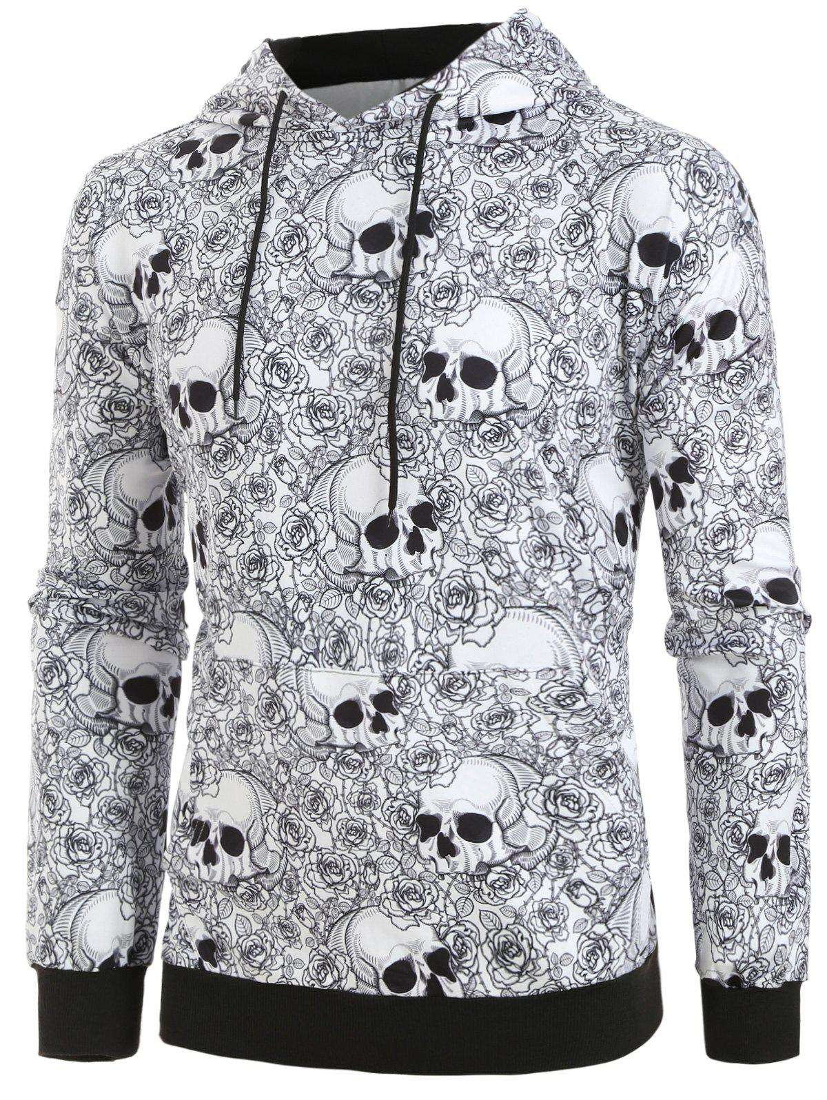 Fancy Plus Size Halloween Skull Floral Print Hoodie