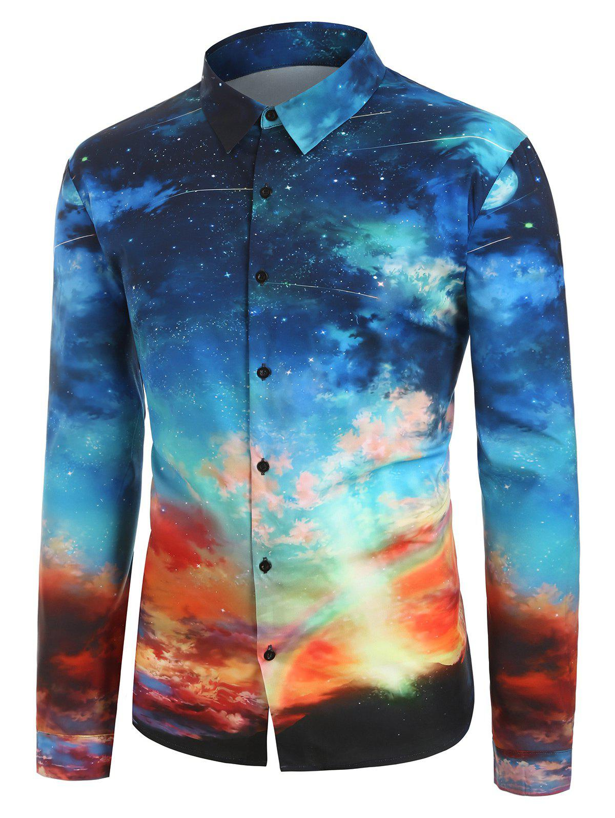 Outfit Plus Size Button Up 3D Galaxy Print Shirt