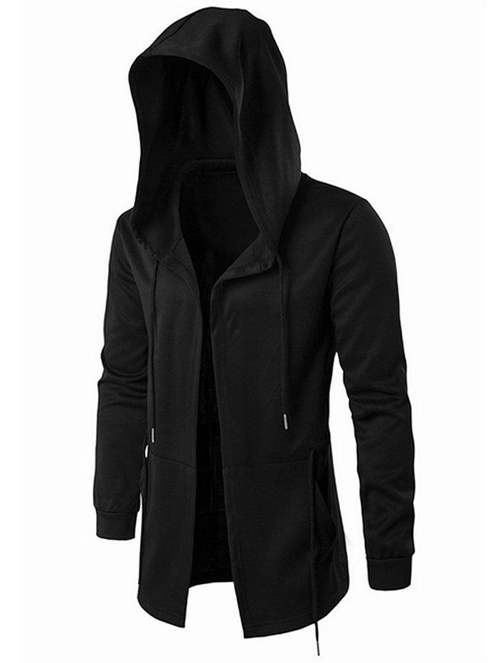 Affordable Solid Color Long Gothic Open Front Hoodie