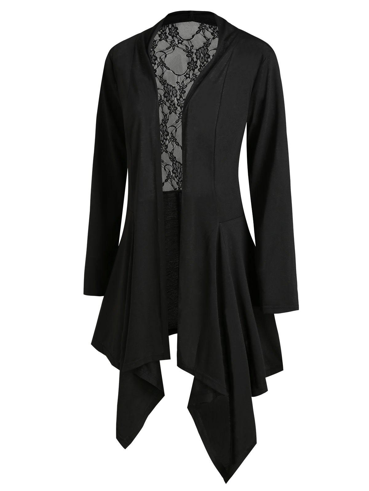 Cheap Handkerchief Lace Panel Open Front Plus Size Cardigan