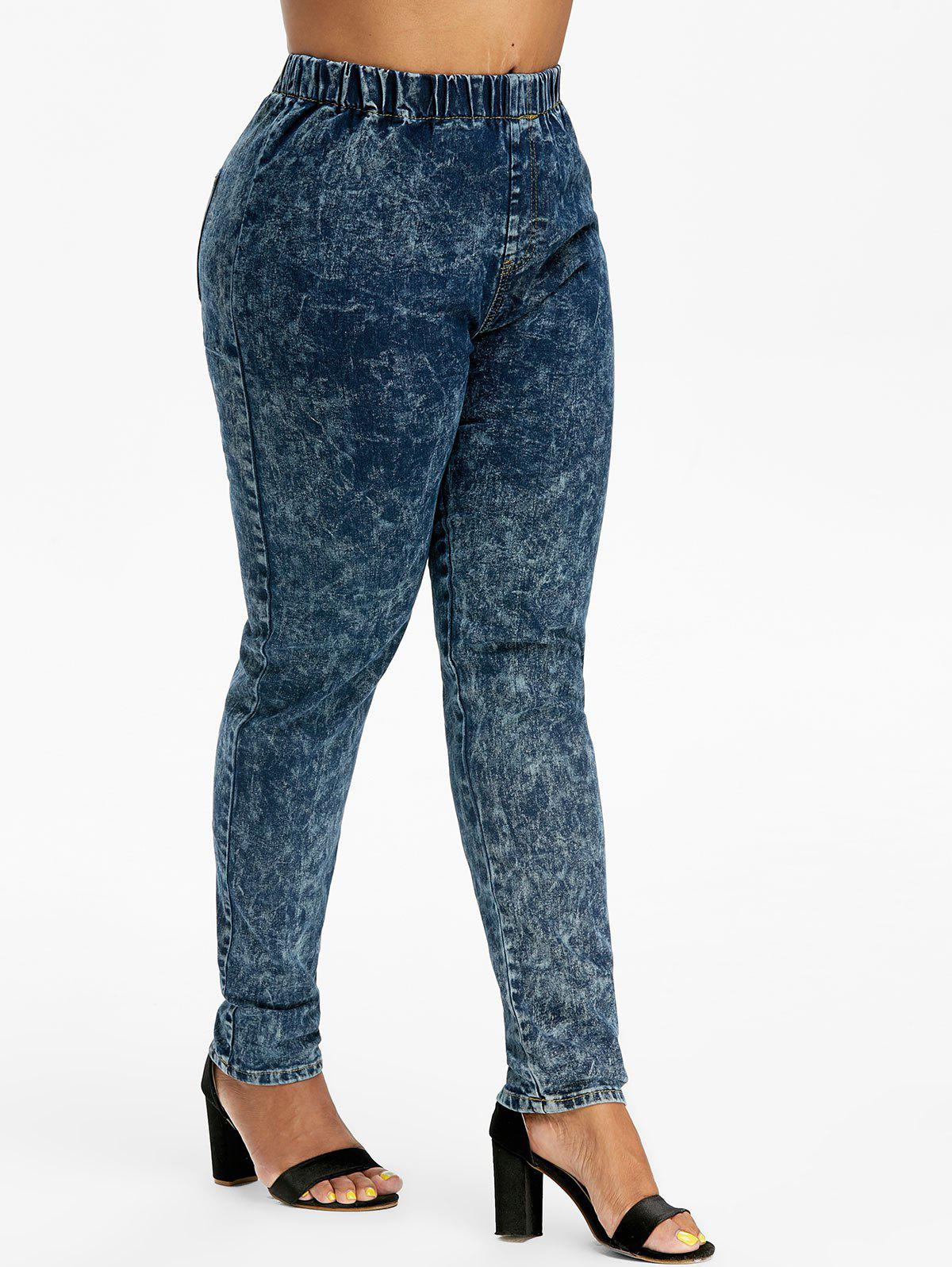 Cheap Plus Size High Waisted Tie Dye Jeans