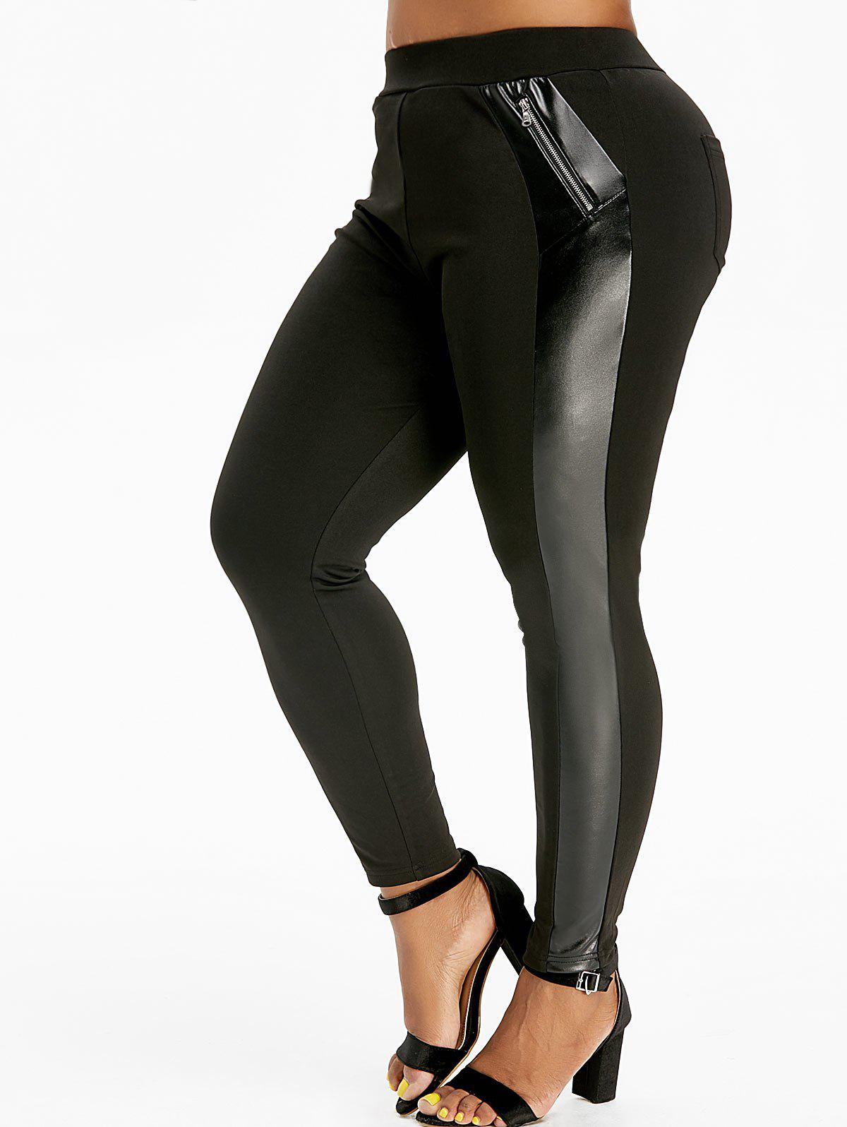 Unique Plus Size Zippered Faux Leather Insert Skinny Leggings