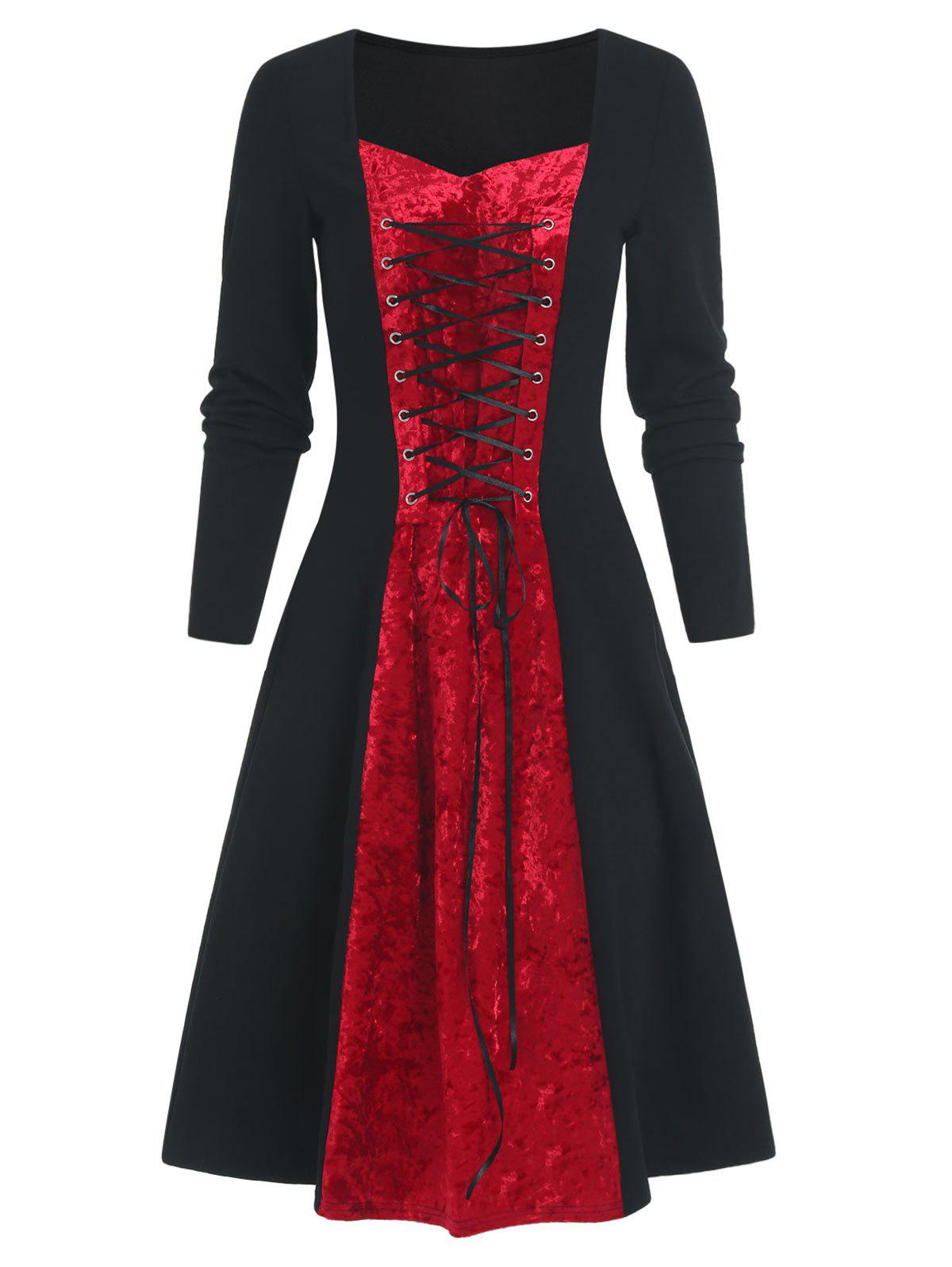 Hot Two Tone Velvet Panel Lace Up Long Sleeve Dress