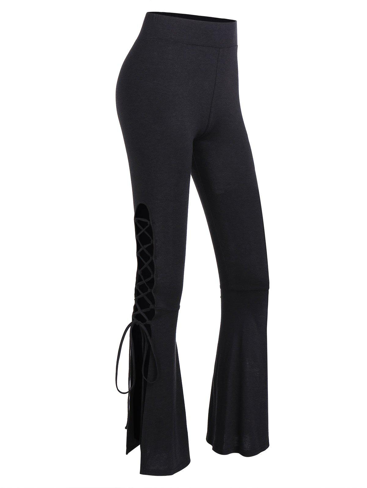 Buy High Waist Lace Up Flare Pants