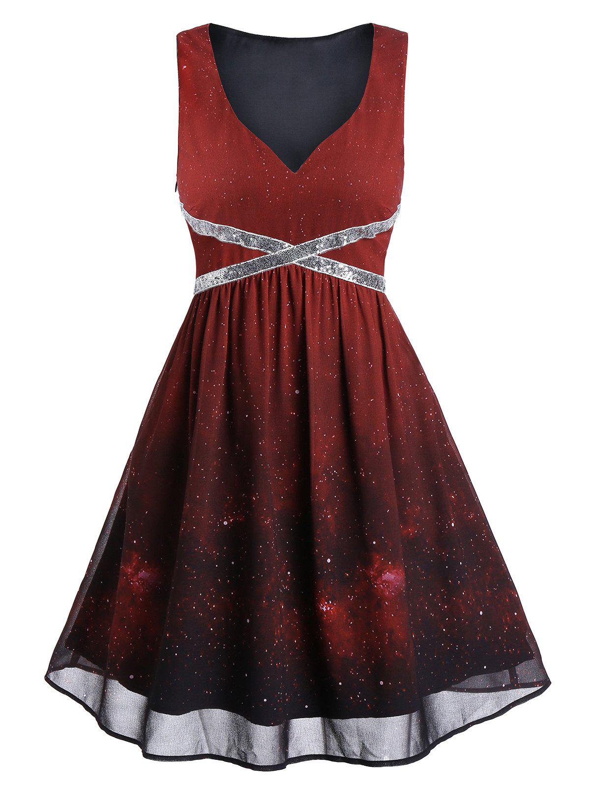 Best Sequins Ombre Color Galaxy Print Evening Dress