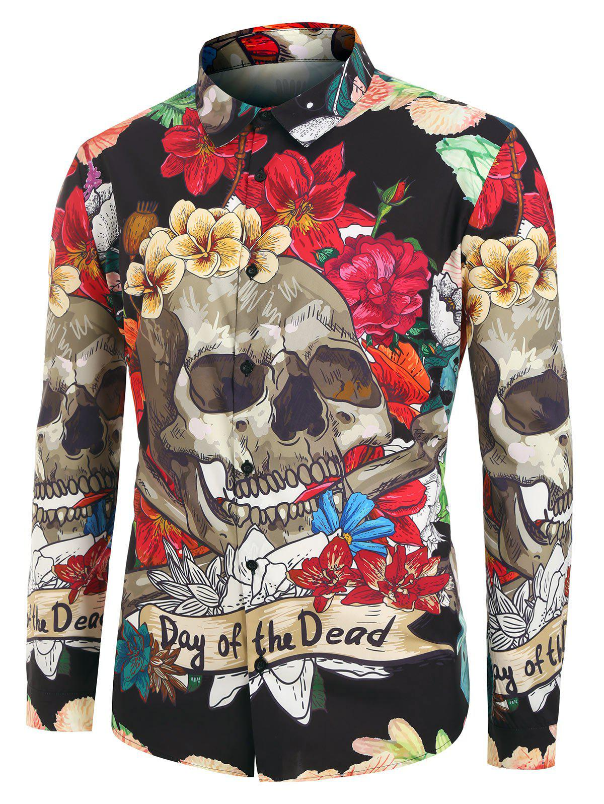 Shops Plus Size Halloween Floral Skull Print Shirt