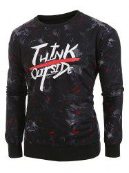 Plus Size Letter and Camouflage Print Pullover Sweatshirt -