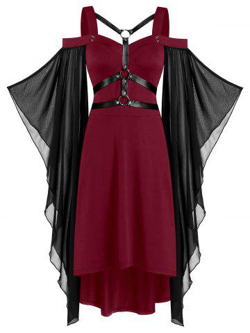 Batwing Sleeve Harness Insert Lace-up High Low Dress - RED WINE - L