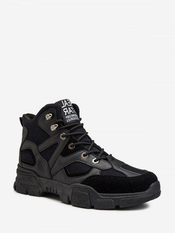 Leather Trim High Top Combat Shoes - BLACK - EU 39