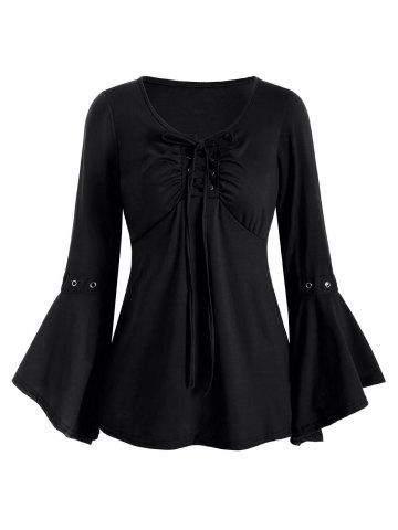 Lace-up Grommet Long Sleeve Top