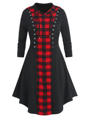 Plus Size Plaid Hooded Button Up Skirted Grommet Coat - BLACK - 4X