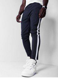 Striped Print Color Spliced Casual Pants -