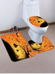 Halloween Bat Pumpkin 3 Pcs Bathroom Toilet Mat -