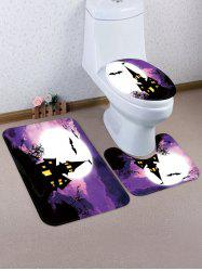 Halloween Bat Castle Night 3 Pcs Bathroom Toilet Mat -