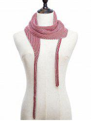 Striped Double Face Knitted Triangle Scarf -
