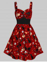 Sweetheart Neck Cat Pumpkin Print Fit And Flare Halloween Dress -
