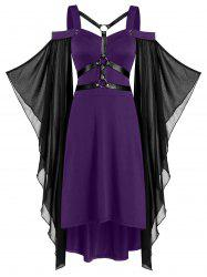 Batwing Sleeve Harness Insert Lace-up High Low Dress -