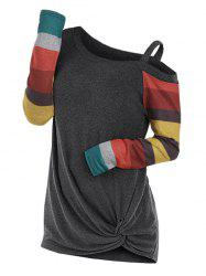 Twisted Skew Neck Color Block Knitwear -