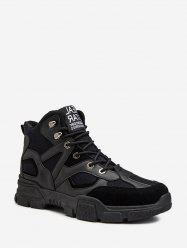 Leather Trim High Top Combat Shoes -