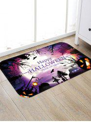 Halloween Pumpkin Bat Printed Floor Rug -