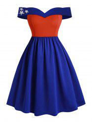 Off Shoulder American Flag Colorblock Star Plus Size Dress -