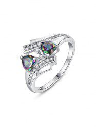 Double Hearts Design Zircon Ring -