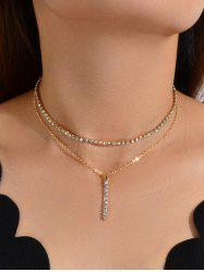 Rhinestone Double Layered Bar Necklace -