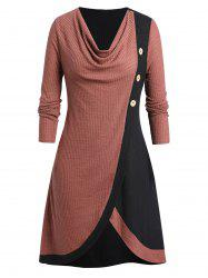 Plus Size Two Tone Cowl Neck Buttoned Knitted Long Sweater -