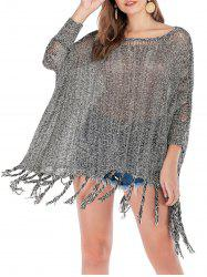 Dolman Sleeves Tassels Heathered Loose Knit Sweater -
