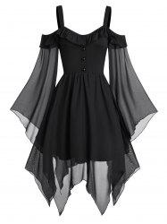 Cold Shoulder Butterfly Sleeve Lace-up Handkerchief Gothic Chiffon Dress -