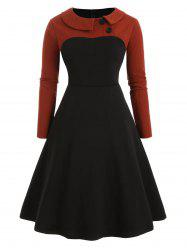 Plus Size Collared Long Sleeve Vintage Dress -