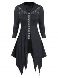 Lace Insert Hook and Eye Gothic Hanky Hem Top -