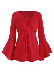 Lace-up Grommet Long Sleeve Top -