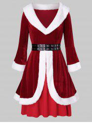 Plus Size Christmas Grommets Velvet Santa Claus Dress -