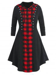 Plus Size Plaid Hooded Button Up Skirted Grommet Coat -