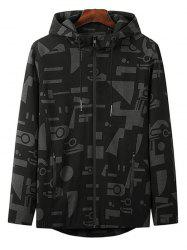 Plus Size Hooded Letter and Geometric Print Zip Up Jacket -